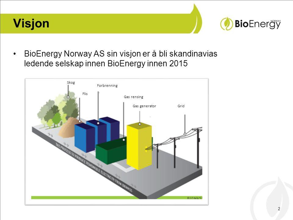 2 Visjon •BioEnergy Norway AS sin visjon er å bli skandinavias ledende selskap innen BioEnergy innen 2015 Skog Flis Forbrenning Gas rensing Gas genera