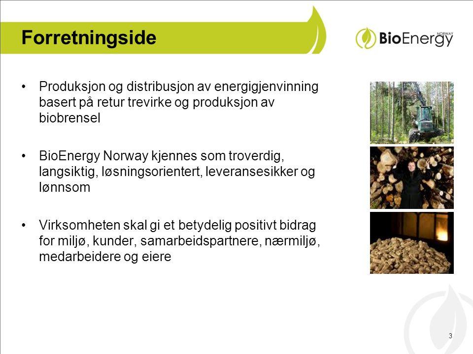 3 Forretningside •Produksjon og distribusjon av energigjenvinning basert på retur trevirke og produksjon av biobrensel •BioEnergy Norway kjennes som troverdig, langsiktig, løsningsorientert, leveransesikker og lønnsom •Virksomheten skal gi et betydelig positivt bidrag for miljø, kunder, samarbeidspartnere, nærmiljø, medarbeidere og eiere