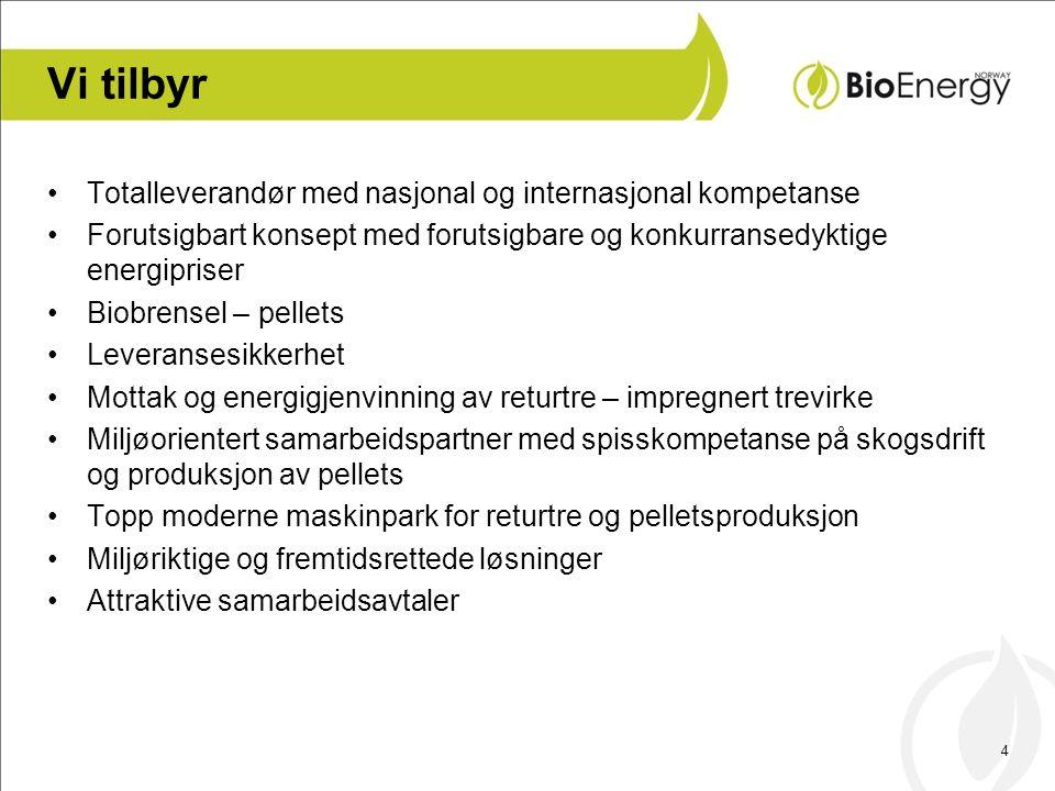 4 Vi tilbyr •Totalleverandør med nasjonal og internasjonal kompetanse •Forutsigbart konsept med forutsigbare og konkurransedyktige energipriser •Biobr