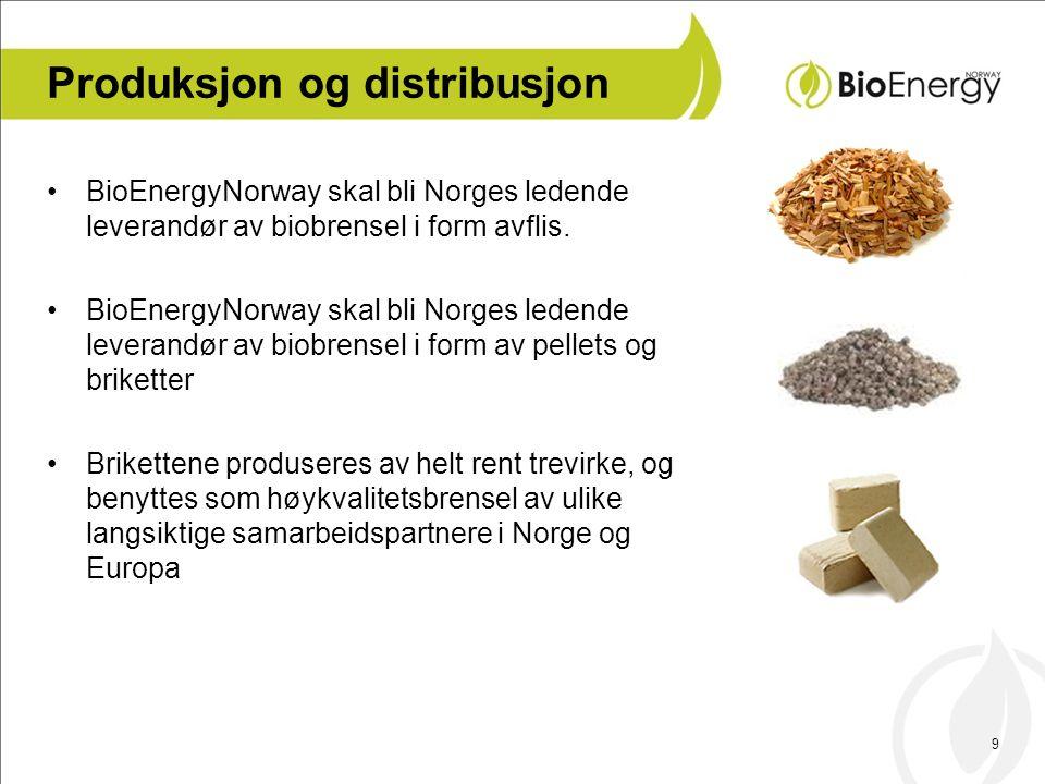 9 Produksjon og distribusjon •BioEnergyNorway skal bli Norges ledende leverandør av biobrensel i form avflis. •BioEnergyNorway skal bli Norges ledende