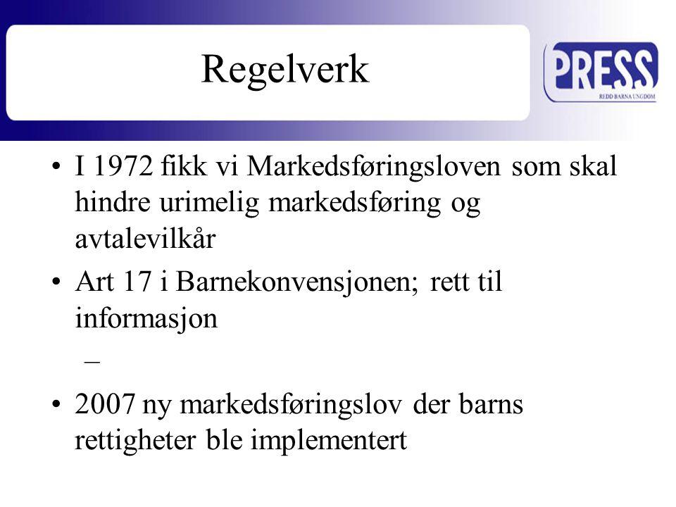 •I 1972 fikk vi Markedsføringsloven som skal hindre urimelig markedsføring og avtalevilkår •Art 17 i Barnekonvensjonen; rett til informasjon –Beskytte mot skadelig informasjon •2007 ny markedsføringslov der barns rettigheter ble implementert Regelverk