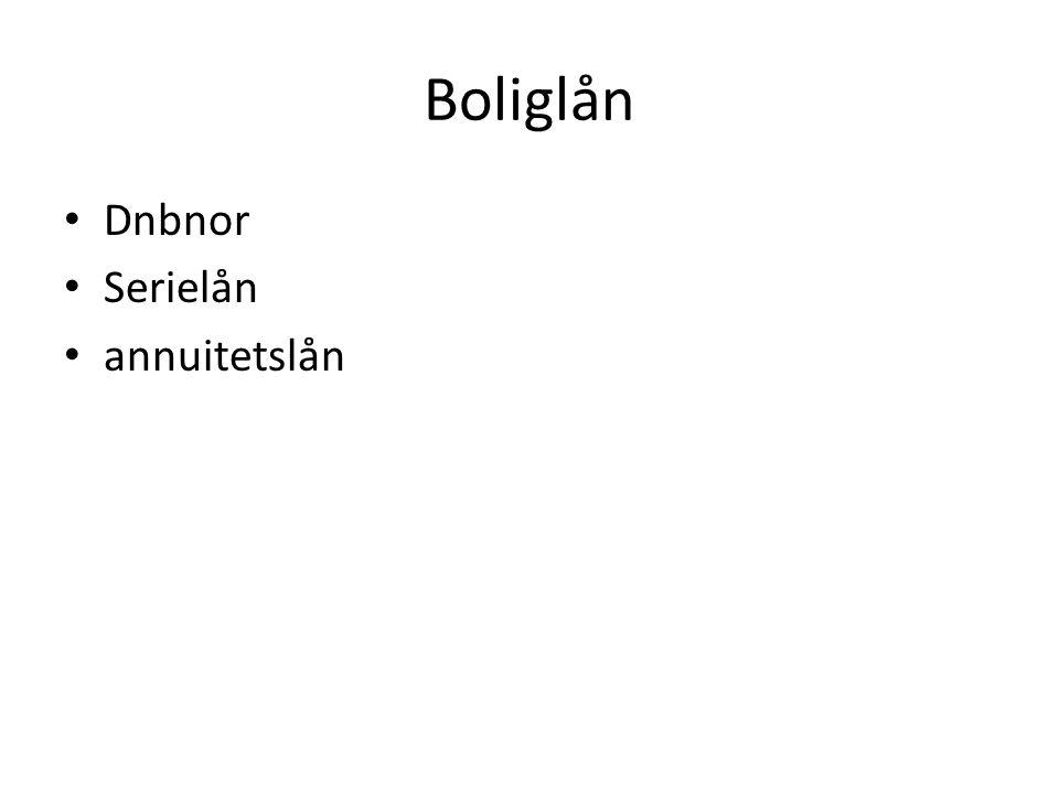 Boliglån • Dnbnor • Serielån • annuitetslån