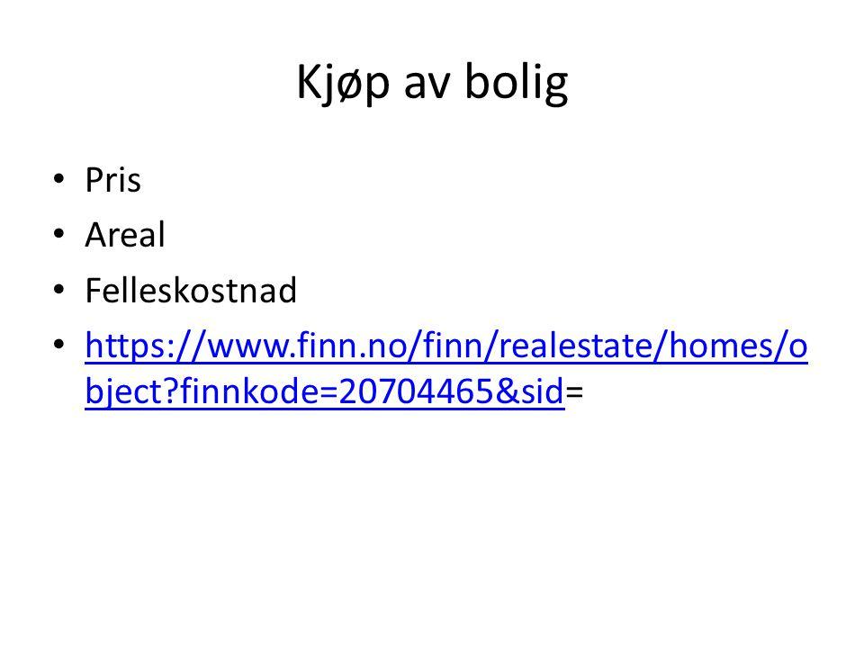 Kjøp av bolig • Pris • Areal • Felleskostnad • https://www.finn.no/finn/realestate/homes/o bject?finnkode=20704465&sid= https://www.finn.no/finn/reale