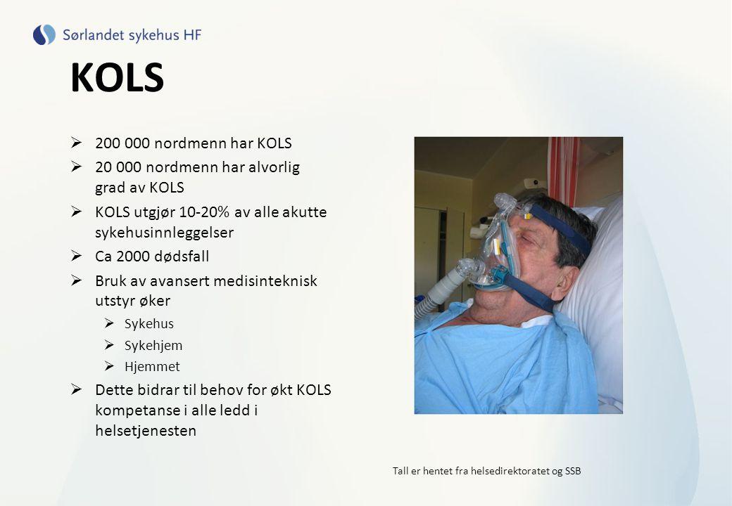 KOLS  200 000 nordmenn har KOLS  20 000 nordmenn har alvorlig grad av KOLS  KOLS utgjør 10-20% av alle akutte sykehusinnleggelser  Ca 2000 dødsfal