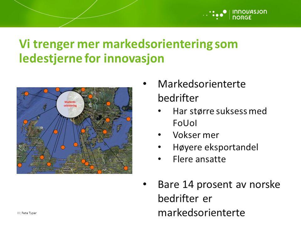 Vi trenger mer markedsorientering som ledestjerne for innovasjon Ill: Fete Typer • Markedsorienterte bedrifter • Har større suksess med FoUoI • Vokser