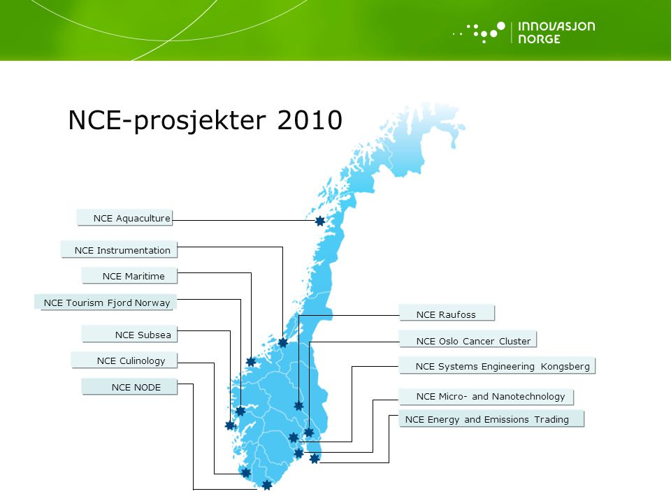 NCE Subsea NCE Maritime NCE Instrumentation NCE Micro- and Nanotechnology NCE Raufoss NCE Oslo Cancer Cluster NCE Systems Engineering Kongsberg NCE Aq