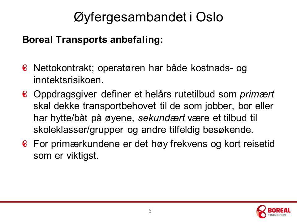 Øyfergesambandet i Oslo Boreal Transports anbefaling: Nettokontrakt; operatøren har både kostnads- og inntektsrisikoen.