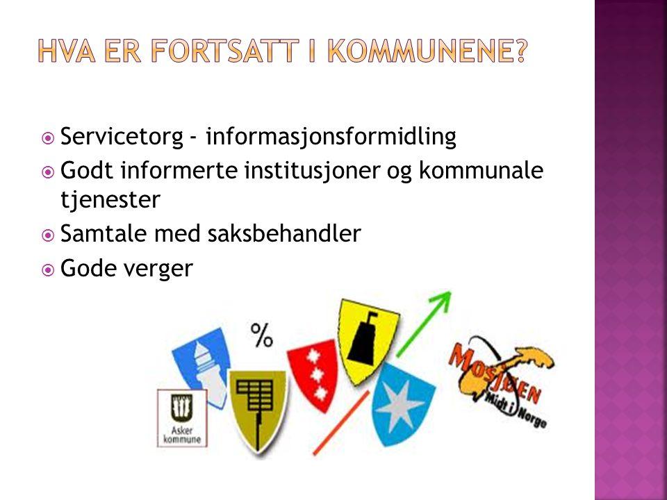  Servicetorg - informasjonsformidling  Godt informerte institusjoner og kommunale tjenester  Samtale med saksbehandler  Gode verger