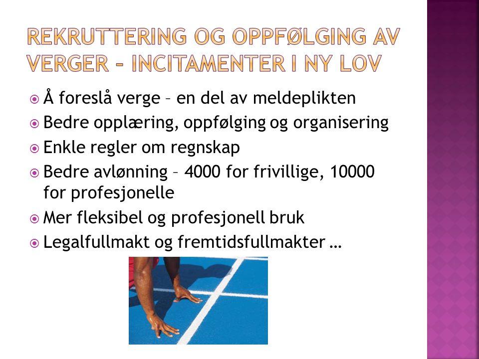 - «Vergepleie» - løpende «vanlig» veiledning - Bistandsplikt – «hot line» - Kontaktperson for alle verger i en kommune, overgangsordning?