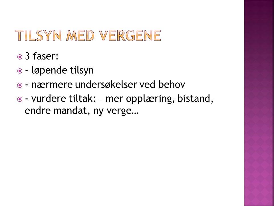  Regler for mindreårige under vergemål  Nye saksbehandlingsregler for vergemålsmyndigheten og domstolene  Oppnevning av verger  Vergens kompetanse og utførelse av vergeoppdraget  Forvaltning av finansielle eiendeler  Interlegale regler  Egne regler for Svalbard  Overgangsbestemmelser