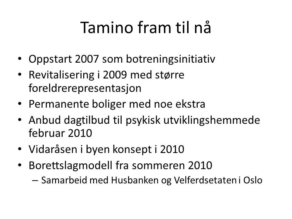 Tamino fram til nå • Oppstart 2007 som botreningsinitiativ • Revitalisering i 2009 med større foreldrerepresentasjon • Permanente boliger med noe ekstra • Anbud dagtilbud til psykisk utviklingshemmede februar 2010 • Vidaråsen i byen konsept i 2010 • Borettslagmodell fra sommeren 2010 – Samarbeid med Husbanken og Velferdsetaten i Oslo