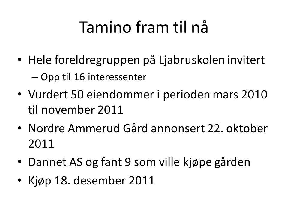 Tamino fram til nå • Møte med bydel Grorud i desember 2011 • Skisseprosjekt framlagt • Møte med Byantikvaren og hennes medarbeidere med beslutning om nybygg 22.