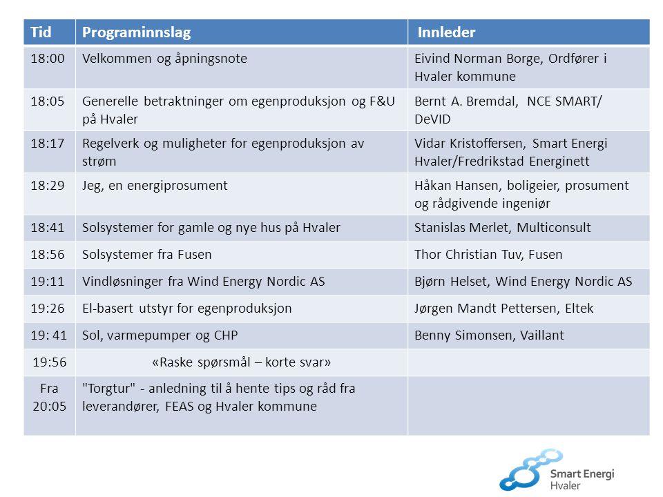 TidPrograminnslag Innleder 18:00Velkommen og åpningsnoteEivind Norman Borge, Ordfører i Hvaler kommune 18:05Generelle betraktninger om egenproduksjon
