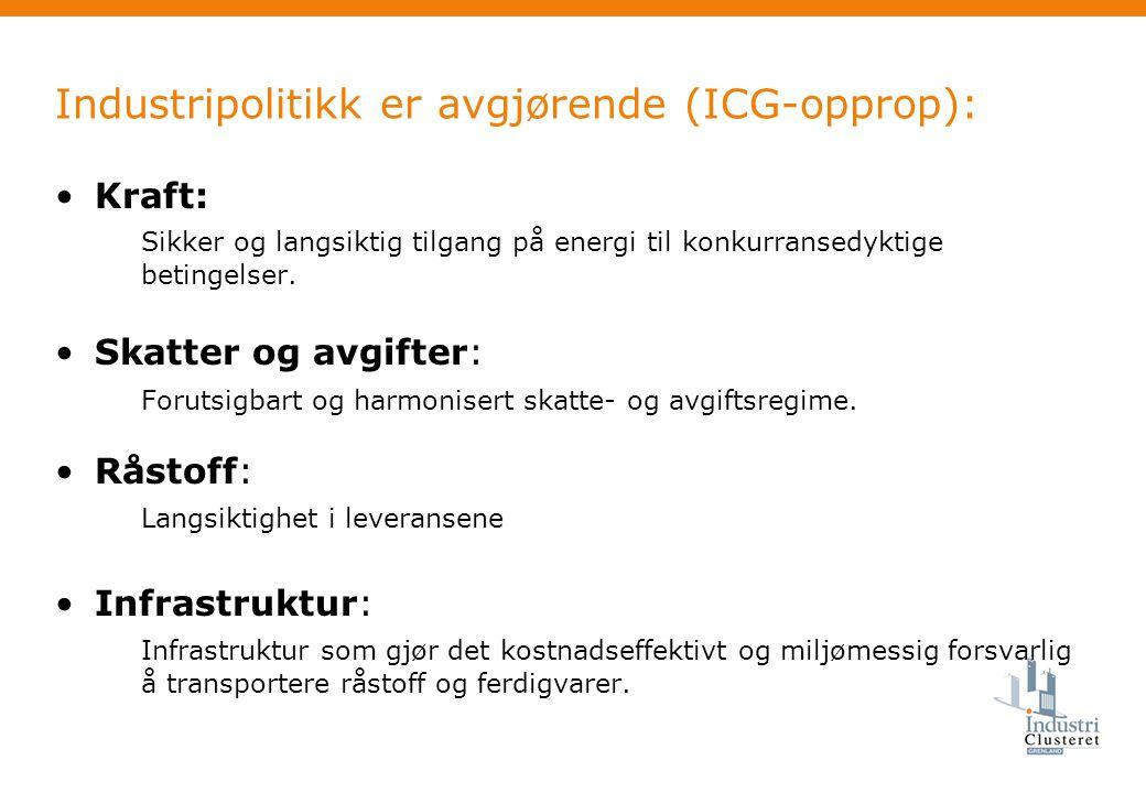 Industripolitikk er avgjørende (ICG-opprop): •Kraft: Sikker og langsiktig tilgang på energi til konkurransedyktige betingelser.