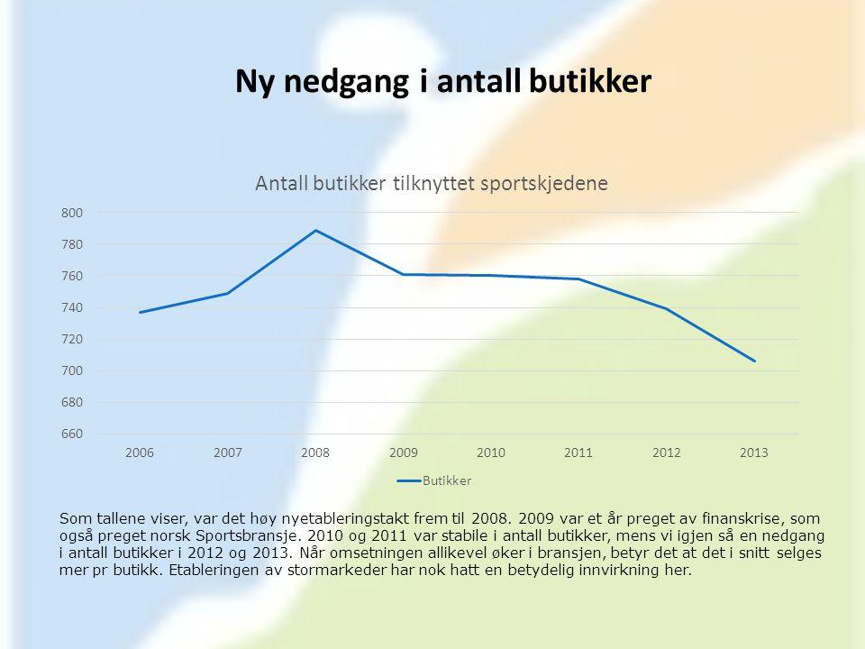 Ny nedgang i antall butikker Som tallene viser, var det høy nyetableringstakt frem til 2008. 2009 var et år preget av finanskrise, som også preget nor