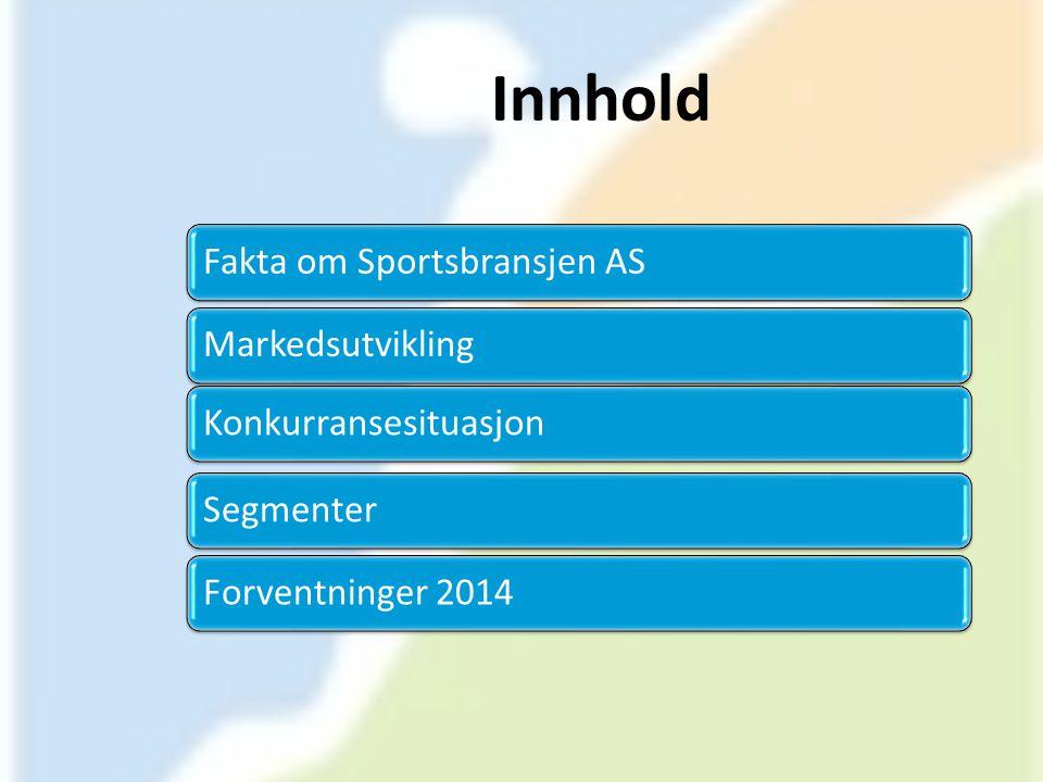 Innhold Fakta om Sportsbransjen ASMarkedsutviklingKonkurransesituasjonSegmenterForventninger 2014