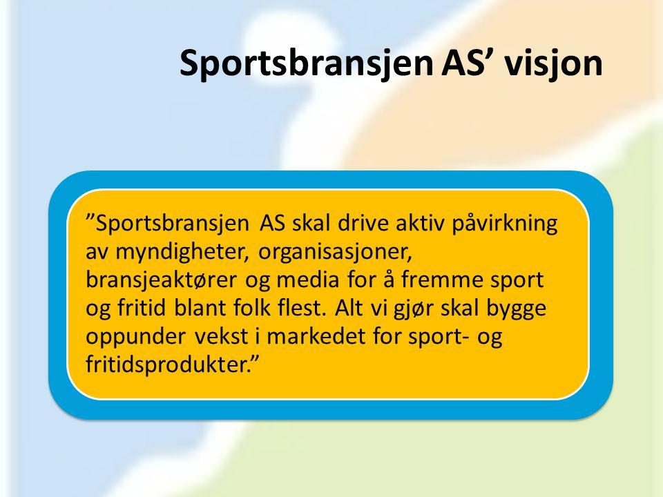 """Sportsbransjen AS' visjon """"Sportsbransjen AS skal drive aktiv påvirkning av myndigheter, organisasjoner, bransjeaktører og media for å fremme sport og"""