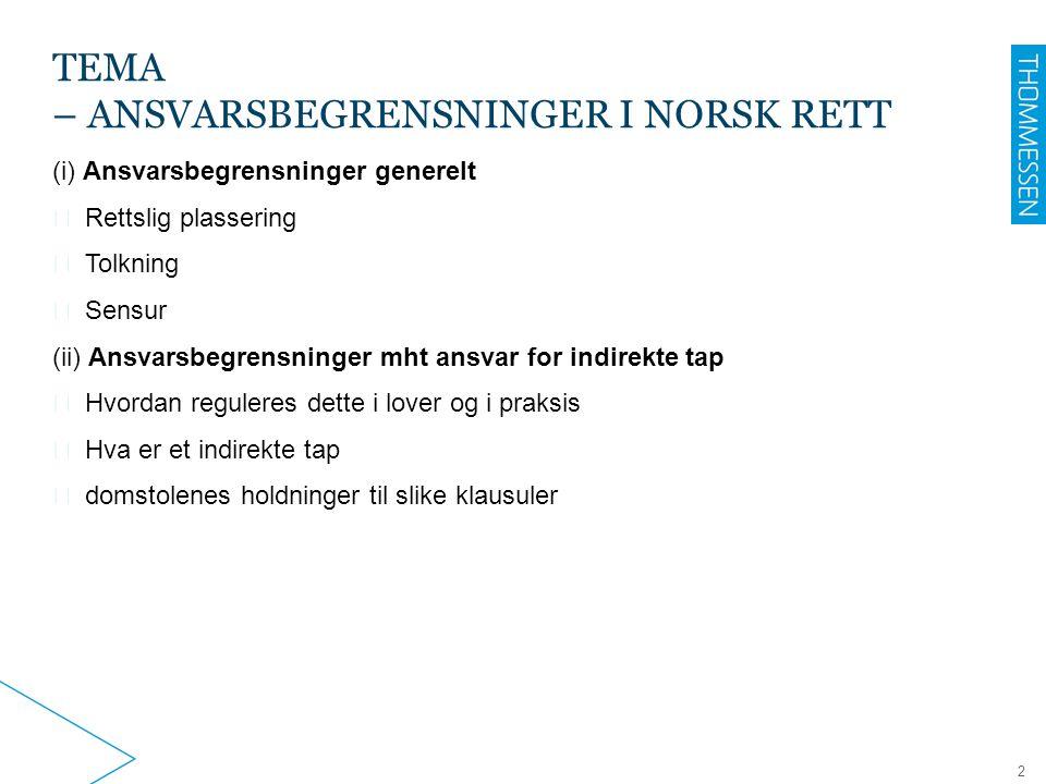2 TEMA – ANSVARSBEGRENSNINGER I NORSK RETT (i) Ansvarsbegrensninger generelt ▶ Rettslig plassering ▶ Tolkning ▶ Sensur (ii) Ansvarsbegrensninger mht a