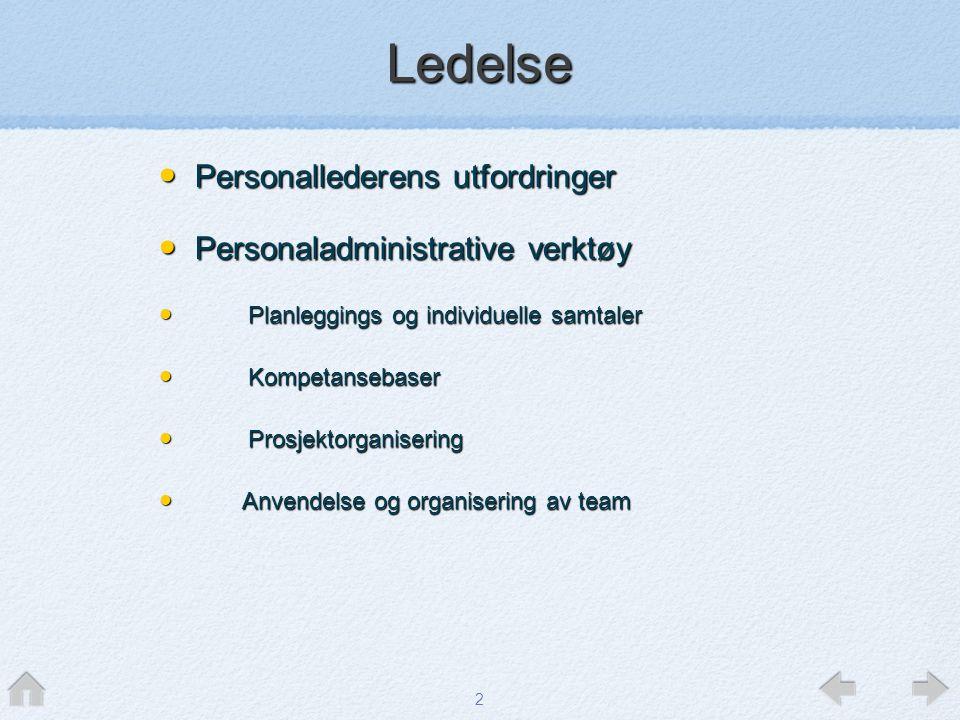 2 • Personallederens utfordringer • Personaladministrative verktøy • Planleggings og individuelle samtaler • Kompetansebaser • Prosjektorganisering •