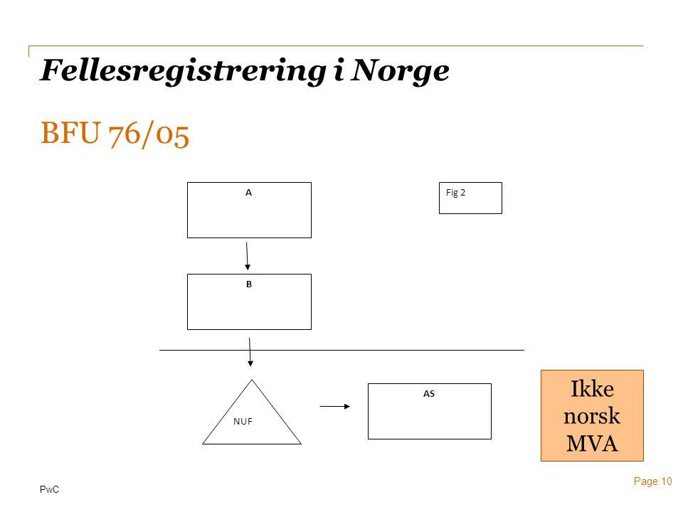 PwC Page 10 Fellesregistrering i Norge BFU 76/05 NUF B AS AFig 2 Ikke norsk MVA