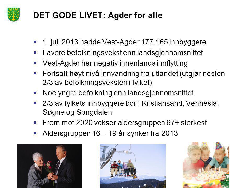 DET GODE LIVET: Agder for alle  1. juli 2013 hadde Vest-Agder 177.165 innbyggere  Lavere befolkningsvekst enn landsgjennomsnittet  Vest-Agder har n