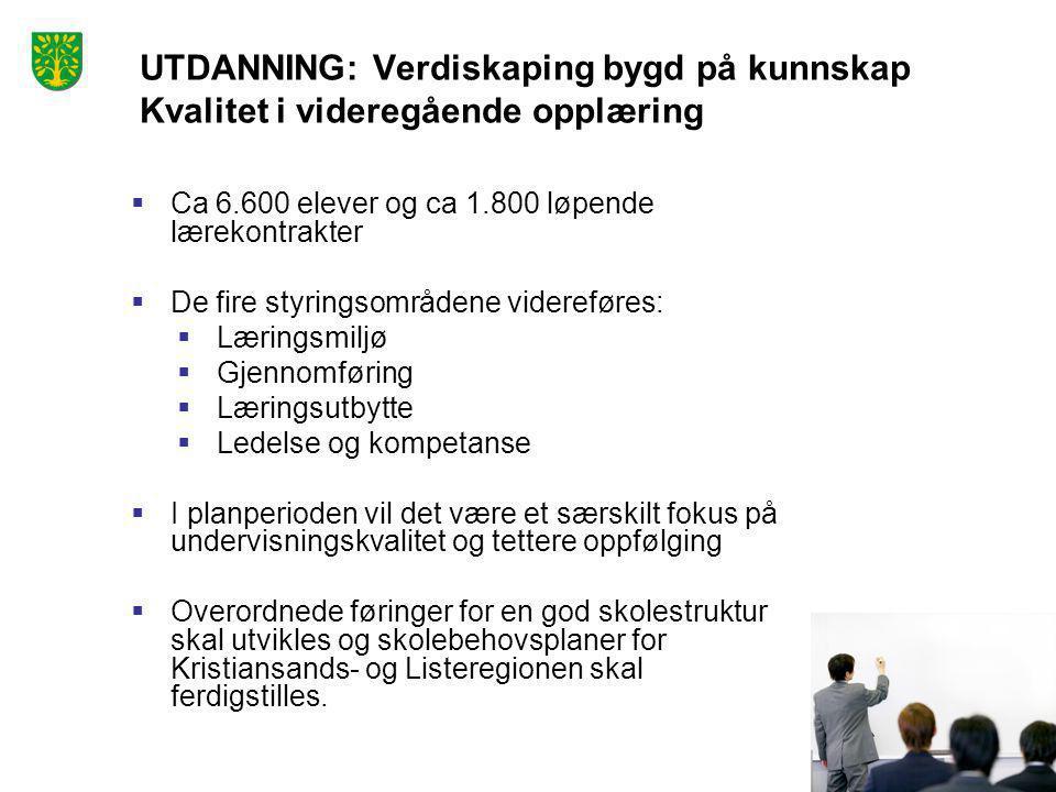 Foto: Peder Austrud UTDANNING: Verdiskaping bygd på kunnskap Kvalitet i videregående opplæring  Ca 6.600 elever og ca 1.800 løpende lærekontrakter 