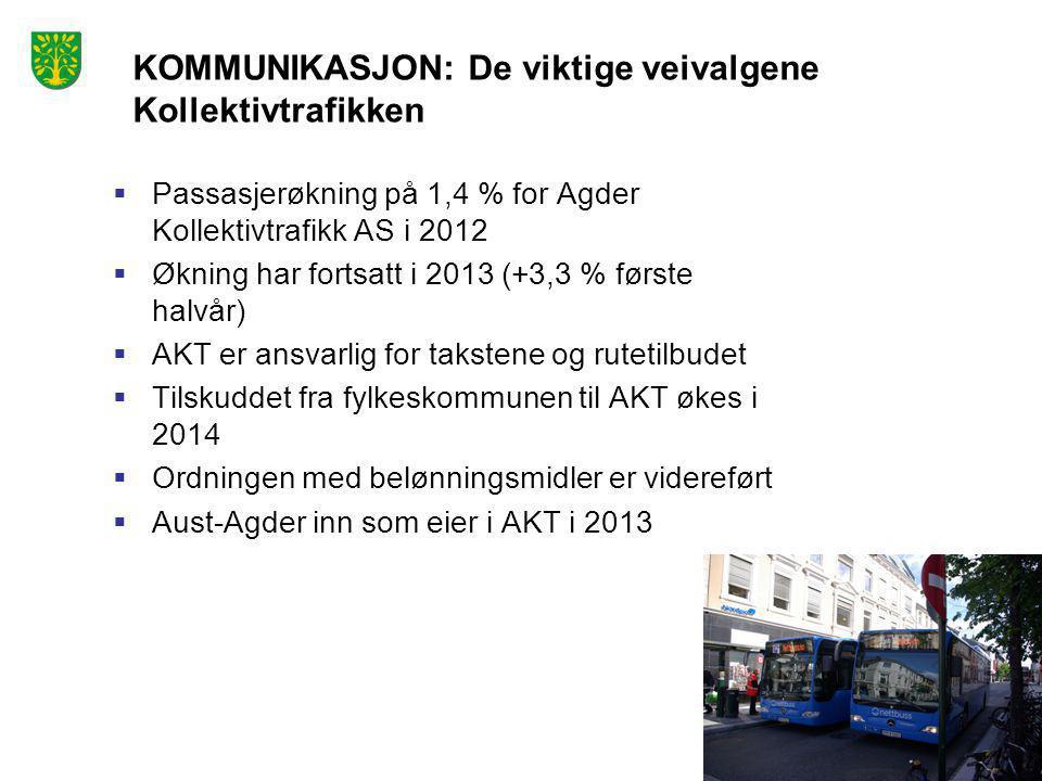 Foto: Peder Austrud  Passasjerøkning på 1,4 % for Agder Kollektivtrafikk AS i 2012  Økning har fortsatt i 2013 (+3,3 % første halvår)  AKT er ansva