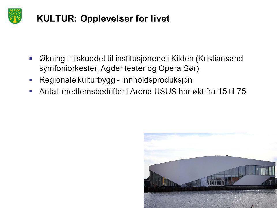 KULTUR: Opplevelser for livet  Økning i tilskuddet til institusjonene i Kilden (Kristiansand symfoniorkester, Agder teater og Opera Sør)  Regionale kulturbygg - innholdsproduksjon  Antall medlemsbedrifter i Arena USUS har økt fra 15 til 75