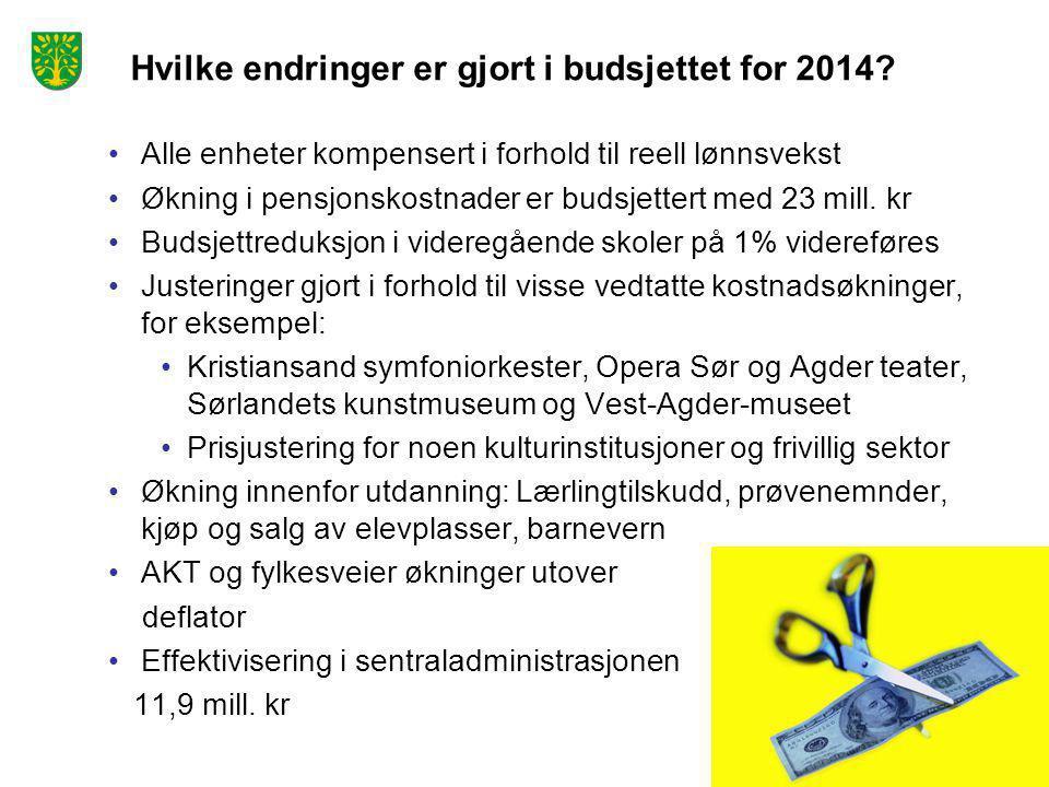 Hvilke endringer er gjort i budsjettet for 2014? •Alle enheter kompensert i forhold til reell lønnsvekst •Økning i pensjonskostnader er budsjettert me
