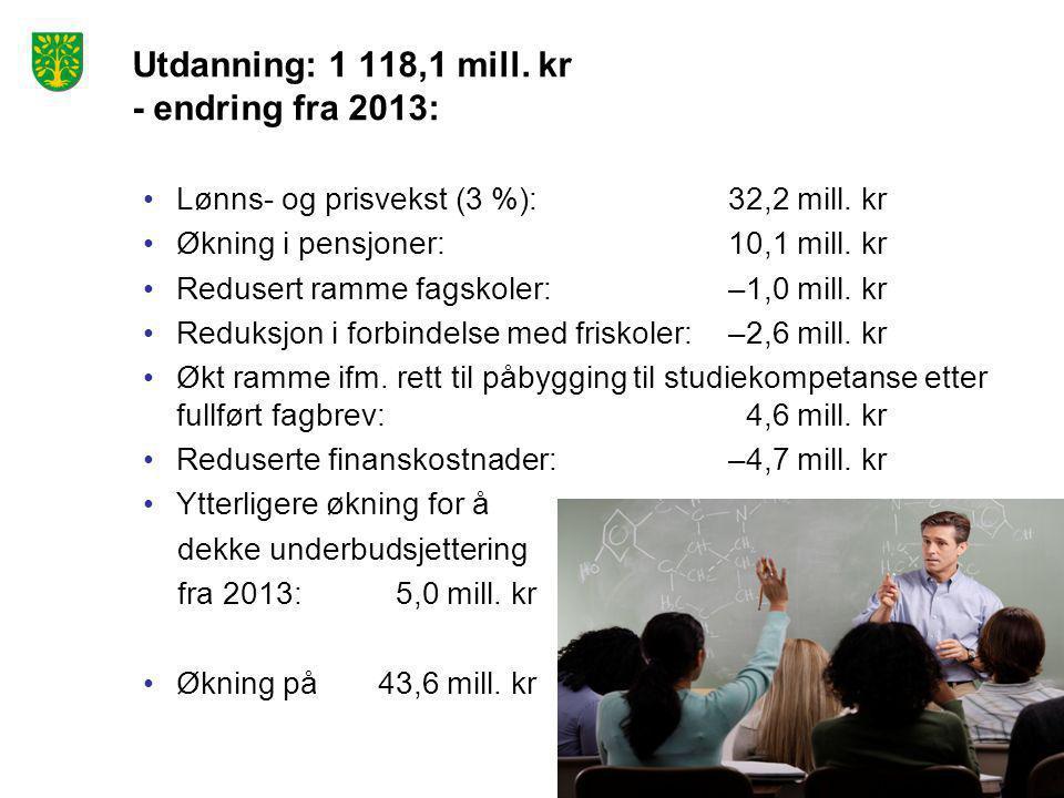 Utdanning: 1 118,1 mill. kr - endring fra 2013: •Lønns- og prisvekst (3 %): 32,2 mill. kr •Økning i pensjoner:10,1 mill. kr •Redusert ramme fagskoler: