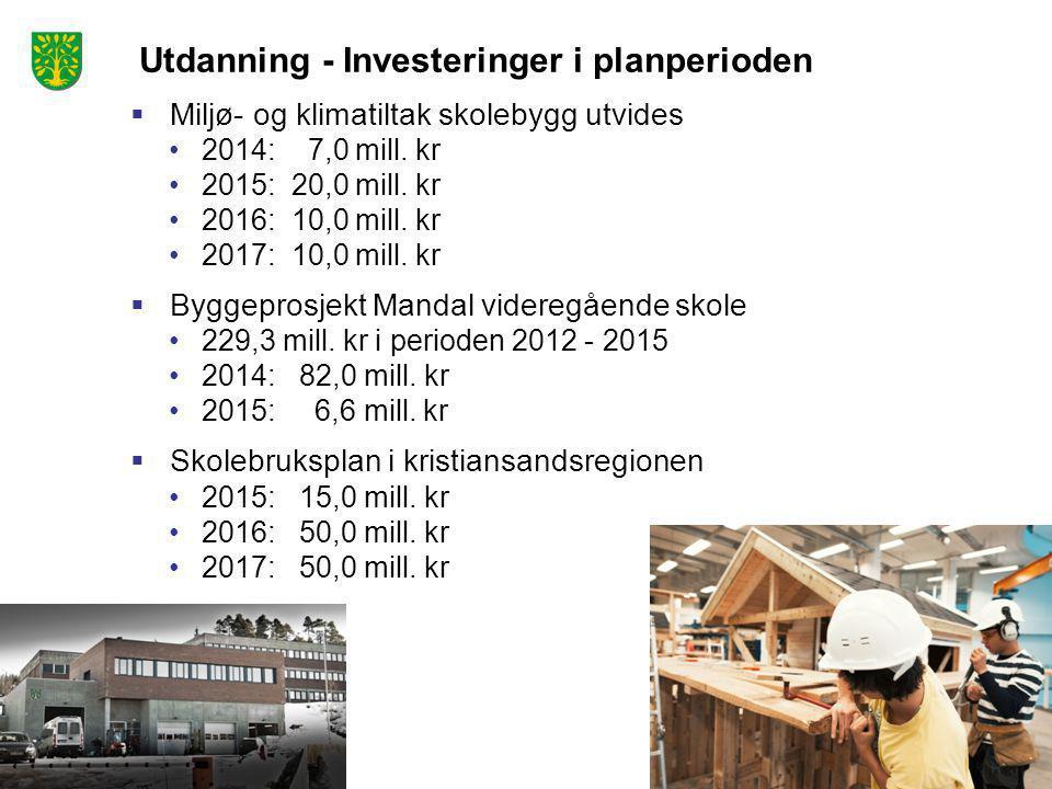 Utdanning - Investeringer i planperioden  Miljø- og klimatiltak skolebygg utvides •2014: 7,0 mill. kr •2015: 20,0 mill. kr •2016: 10,0 mill. kr •2017