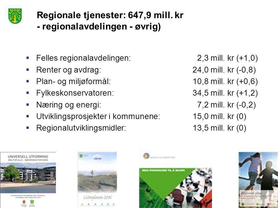 Regionale tjenester: 647,9 mill. kr - regionalavdelingen - øvrig)  Felles regionalavdelingen: 2,3 mill. kr (+1,0)  Renter og avdrag:24,0 mill. kr (-