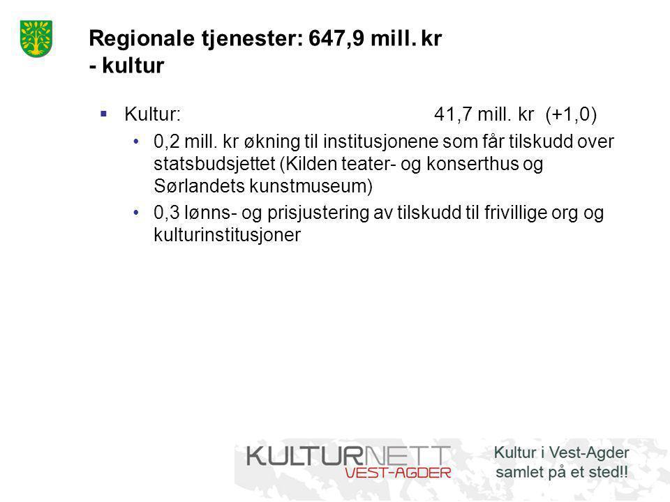 Regionale tjenester: 647,9 mill. kr - kultur  Kultur:41,7 mill. kr (+1,0) •0,2 mill. kr økning til institusjonene som får tilskudd over statsbudsjett