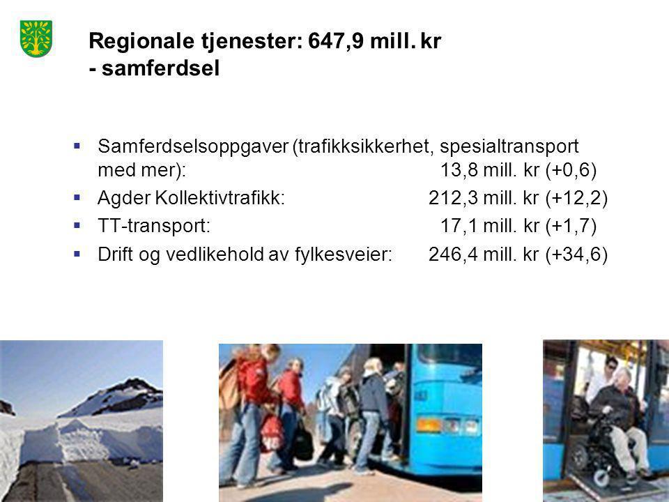  Samferdselsoppgaver (trafikksikkerhet, spesialtransport med mer): 13,8 mill. kr (+0,6)  Agder Kollektivtrafikk: 212,3 mill. kr (+12,2)  TT-transpo