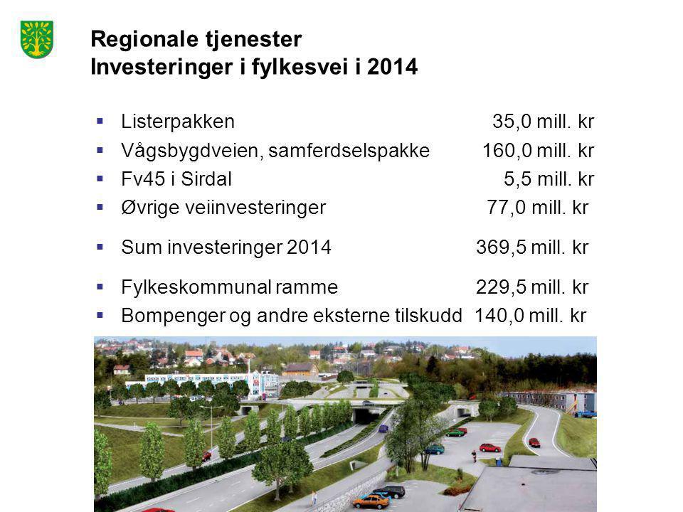 Regionale tjenester Investeringer i fylkesvei i 2014  Listerpakken 35,0 mill. kr  Vågsbygdveien, samferdselspakke 160,0 mill. kr  Fv45 i Sirdal 5,5