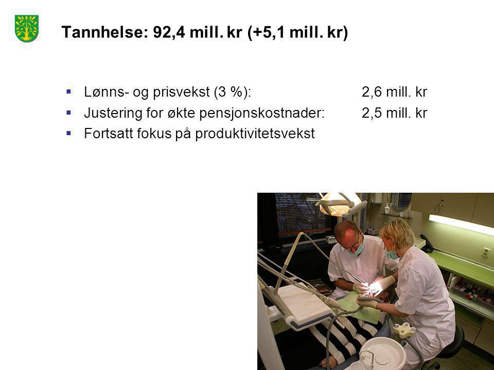 Tannhelse: 92,4 mill. kr (+5,1 mill. kr)  Lønns- og prisvekst (3 %): 2,6 mill.