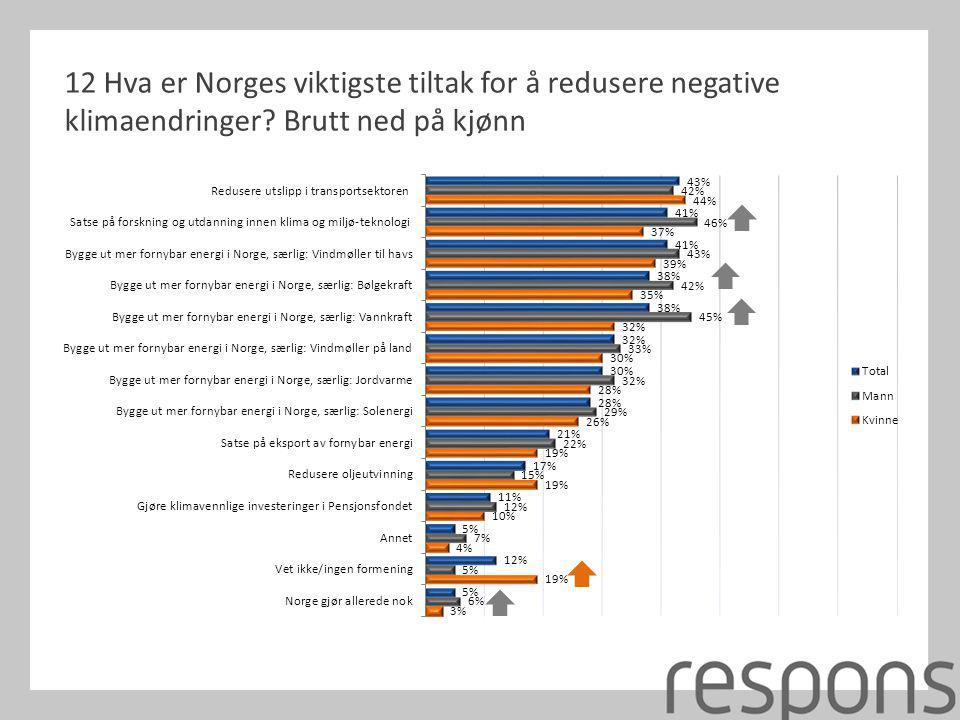 12 Hva er Norges viktigste tiltak for å redusere negative klimaendringer? Brutt ned på kjønn