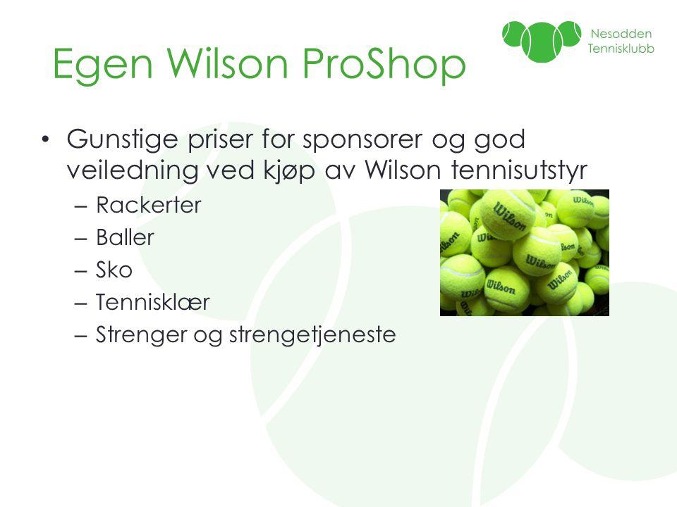 Egen Wilson ProShop • Gunstige priser for sponsorer og god veiledning ved kjøp av Wilson tennisutstyr – Rackerter – Baller – Sko – Tennisklær – Strenger og strengetjeneste