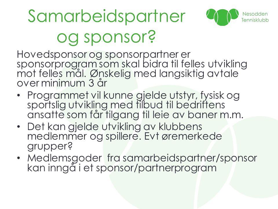 Samarbeidspartner og sponsor? Hovedsponsor og sponsorpartner er sponsorprogram som skal bidra til felles utvikling mot felles mål. Ønskelig med langsi