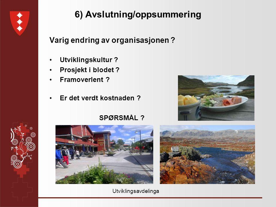 Utviklingsavdelinga 6) Avslutning/oppsummering Varig endring av organisasjonen .
