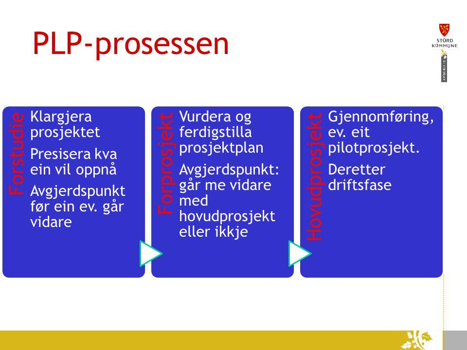 PLP-prosessen Forstudie Klargjera prosjektet Presisera kva ein vil oppnå Avgjerdspunkt før ein ev.