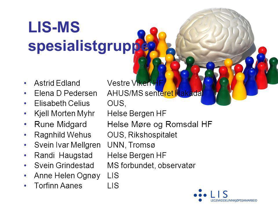 LIS-MS spesialistgruppe •Astrid EdlandVestre Viken HF •Elena D PedersenAHUS/MS senteret Hakadal •Elisabeth CeliusOUS, Ullevål •Kjell Morten MyhrHelse