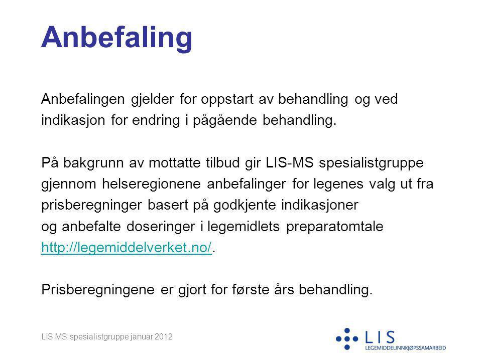 LIS MS spesialistgruppe januar 2012 Anbefaling Anbefalingen gjelder for oppstart av behandling og ved indikasjon for endring i pågående behandling. På