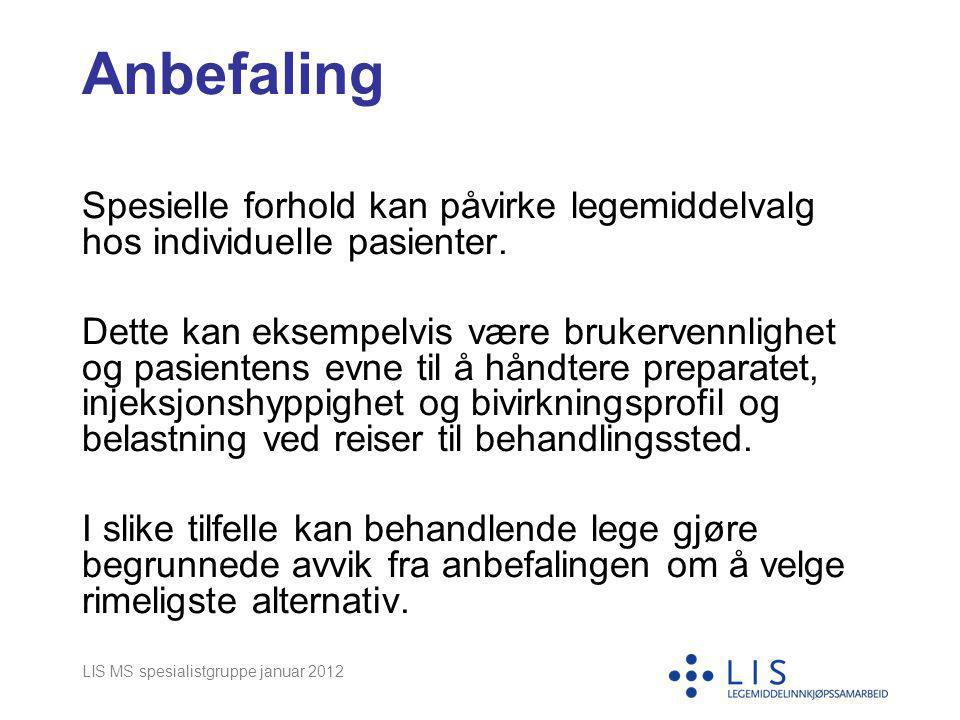 LIS MS spesialistgruppe januar 2012 Anbefaling Spesielle forhold kan påvirke legemiddelvalg hos individuelle pasienter. Dette kan eksempelvis være bru