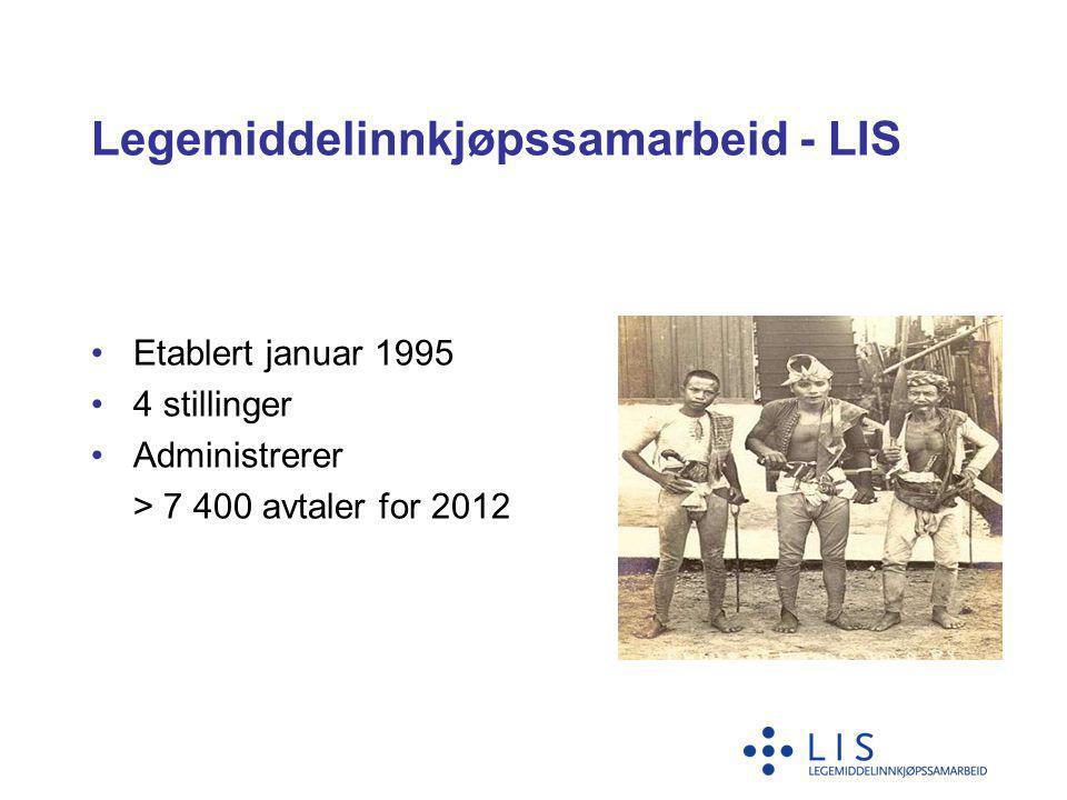 Legemiddelinnkjøpssamarbeid - LIS •Etablert januar 1995 •4 stillinger •Administrerer > 7 400 avtaler for 2012