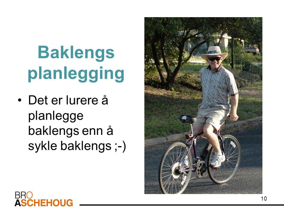 Baklengs planlegging •Det er lurere å planlegge baklengs enn å sykle baklengs ;-) 10