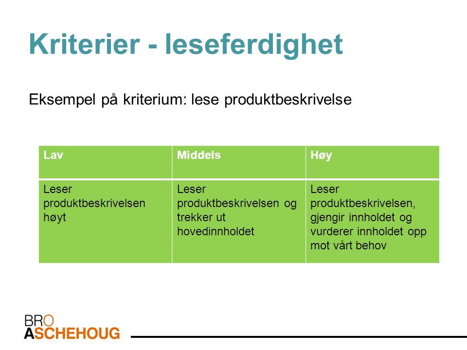 Kriterier - leseferdighet Eksempel på kriterium: lese produktbeskrivelse LavMiddelsHøy Leser produktbeskrivelsen høyt Leser produktbeskrivelsen og tre
