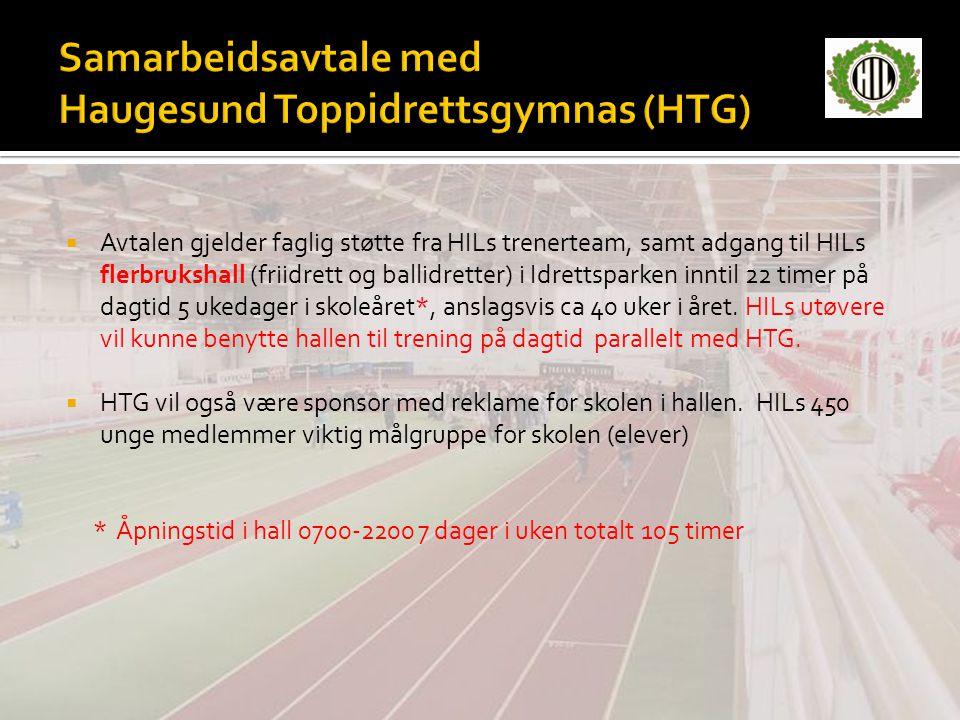  Avtalen gjelder faglig støtte fra HILs trenerteam, samt adgang til HILs flerbrukshall (friidrett og ballidretter) i Idrettsparken inntil 22 timer på