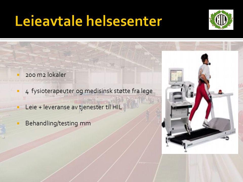  200 m2 lokaler  4 fysioterapeuter og medisinsk støtte fra lege  Leie + leveranse av tjenester til HIL  Behandling/testing mm
