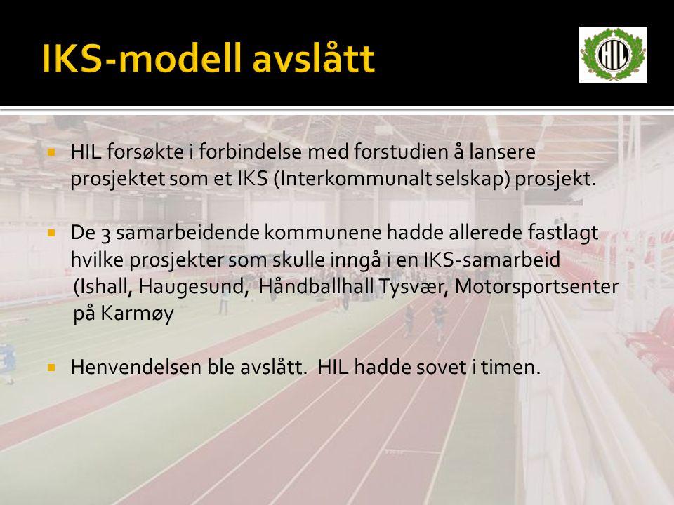  HIL forsøkte i forbindelse med forstudien å lansere prosjektet som et IKS (Interkommunalt selskap) prosjekt.  De 3 samarbeidende kommunene hadde al